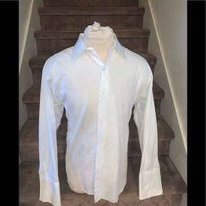Barneys New York white mens dress shirt sz 18 L